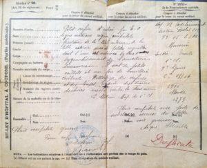 """Descriptif de la blessure d'Emile MAURIN. EO signifie """"éclat d'obus""""."""